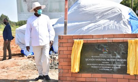 PRESIDENT MUSEVENI LAYS A FOUNDATION STONE FOR THE CONSTRUCTION OF THE UGANDA NATIONAL MILITARY MUSEUM.